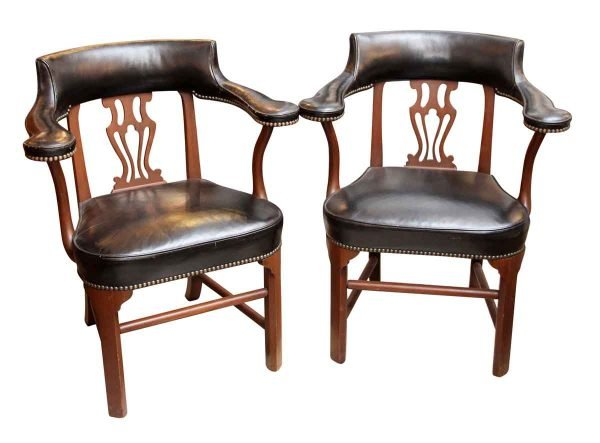 Pair of Studded Leather & Walnut Captain Chairs - Seating