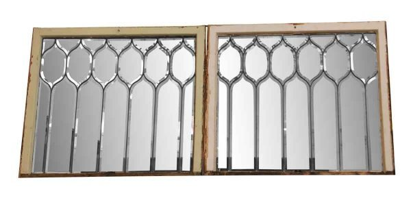 Pair of Beveled Glass Windows - Leaded Glass