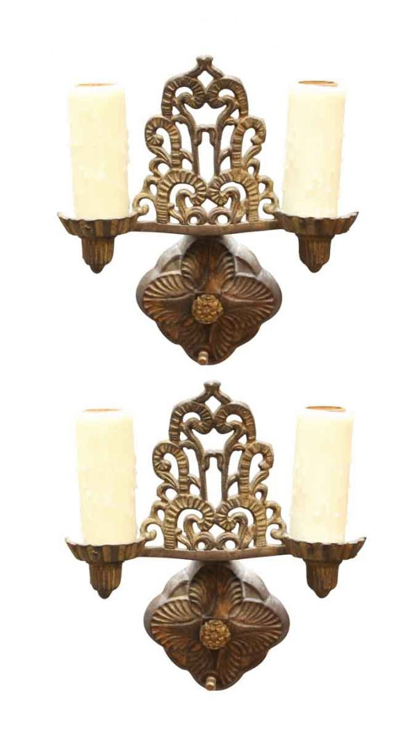 Pair of Two Arm Candlestick Sconces - Sconces & Wall Lighting
