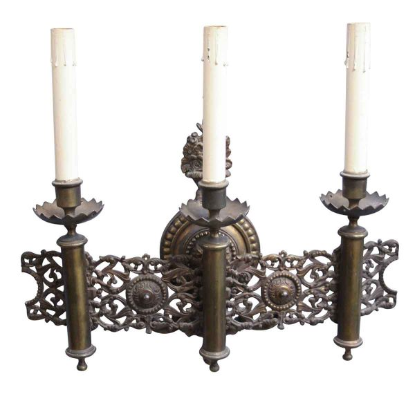 Three Arm Single Candlestick Sconce - Sconces & Wall Lighting