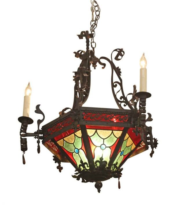Wrought Iron & Stained Glass Chandelier - Chandeliers