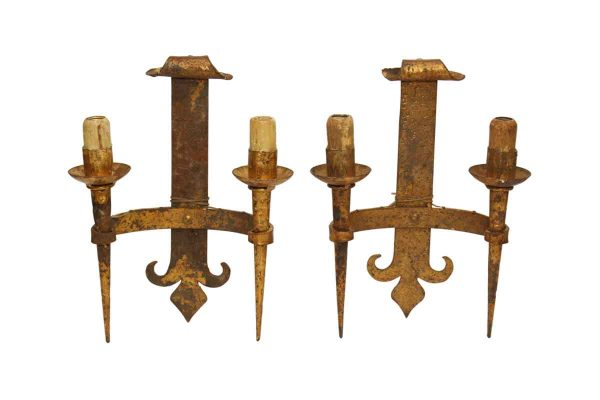 Pair of Iron Gothic Wall Sconces - Sconces & Wall Lighting