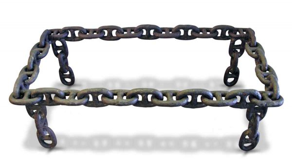 Rectangular Antique Iron Nautical Chain Link Table - Altered Antiques