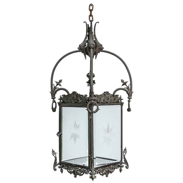 Bronze Lantern with Etched Glass - Wall & Ceiling Lanterns