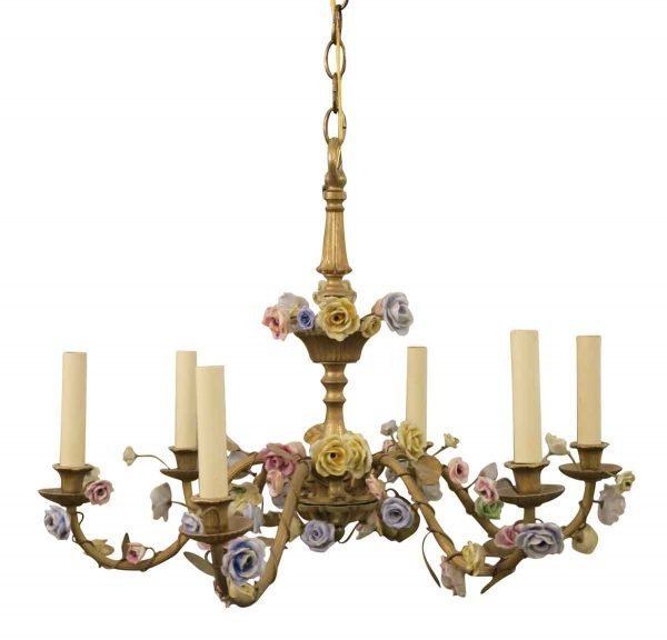 1920s French Louis XVI Six Arm Floral Chandelier with Porcelain Flowers - Chandeliers
