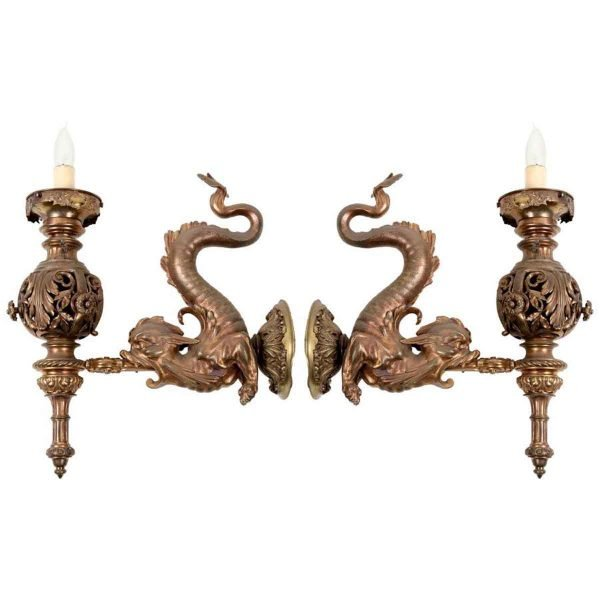 Bronze Dolphin Sconces - Sconces & Wall Lighting