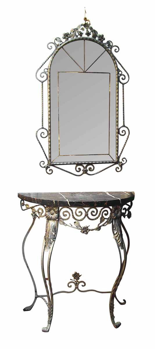Fancy Wrought Iron & Marble Console & Mirror Set - Entry Way