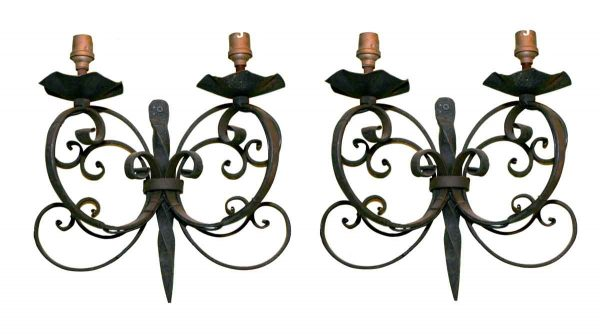 Pair of Iron Candle Sconces - Sconces & Wall Lighting