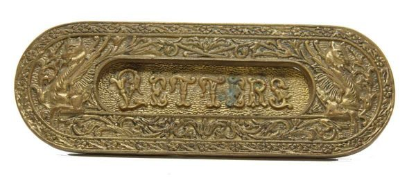 Cast Bronze Letter Slot with Figures - Mail Hardware
