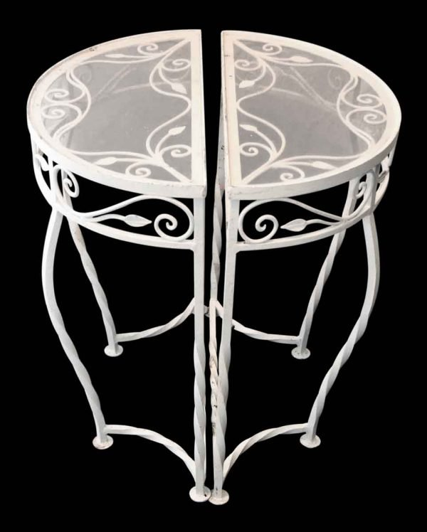 Set of Two White Iron Side Tables with Plastic Tops - Patio Furniture