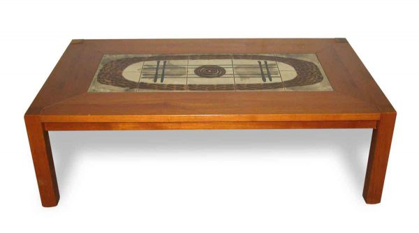 Modern Wooden Coffee Table with Tile Insert - Living Room