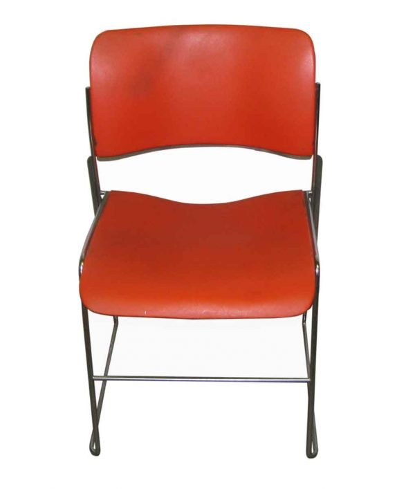 Set of Three Retro Metal & Plastic Stacking Chairs - Seating