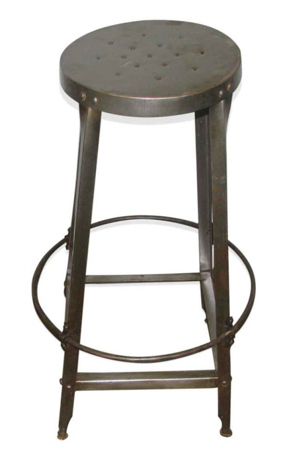 Industrial Metal Stool with Perforated Seat - Seating