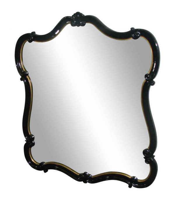Black Lacquered Scalloped  Mirror - Antique Mirrors