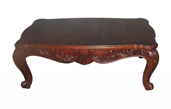 Simple Wooden Coffee Table with Cabriole Legs - Living Room