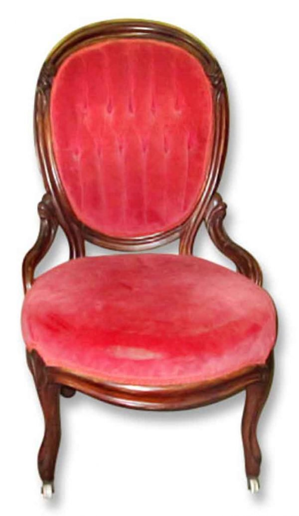 French Carved Parlor Chair with Tufted Upholstered Back - Living Room