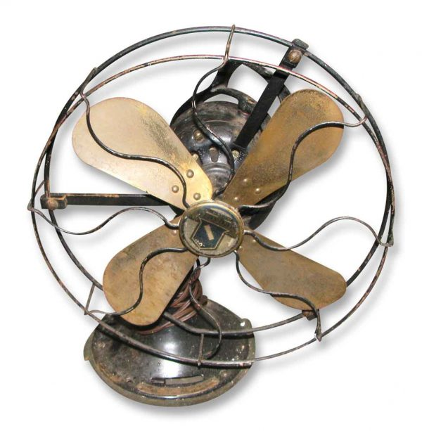 Antique Oscillating Fan with Brass Blades - Fans