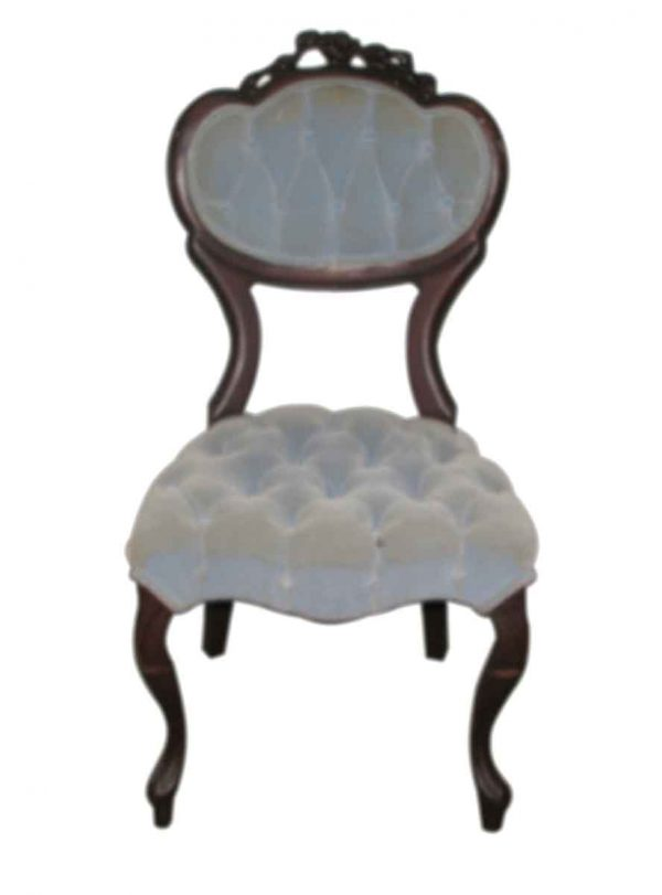 Tufted Victorian Carved Ladys Seat - Living Room