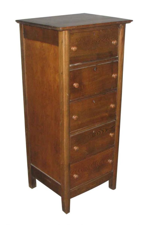 Narrow Chestnut Chest of Drawers - Bedroom