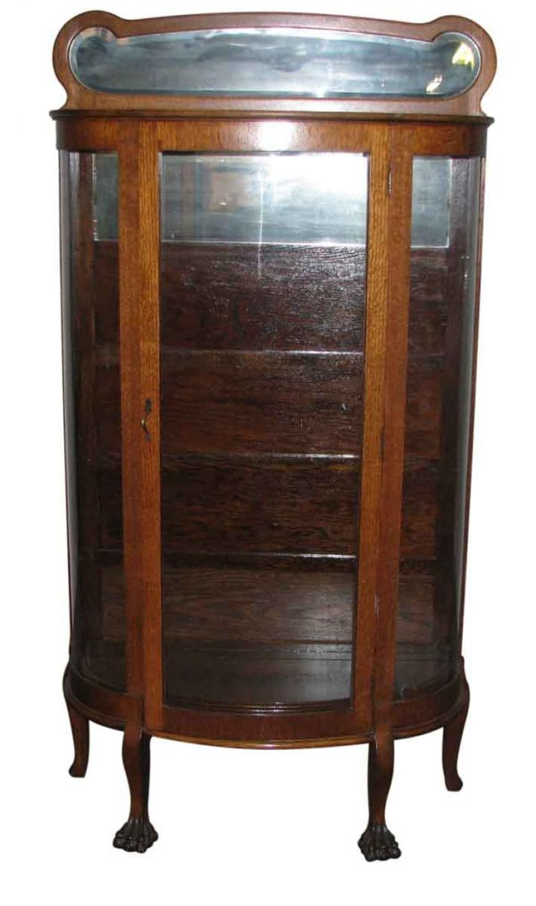 Oak China Cabinet with Curved Glass Front - Cabinets
