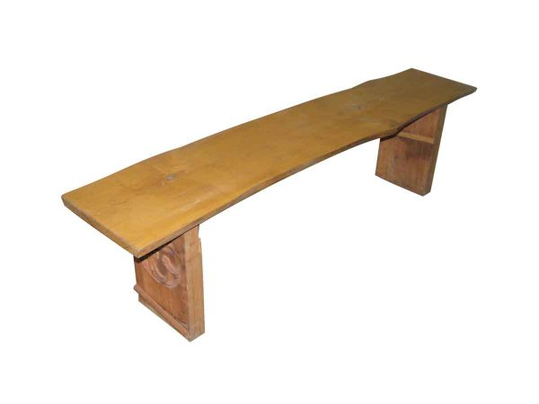 Live Edge Wood Bench with Antique Base - Religious Antiques