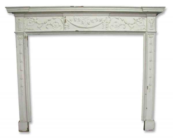 Antique Mantel with Cherubs and Ornate Detail - Mantels