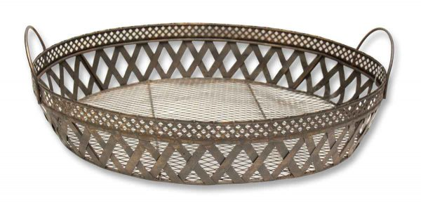 Vintage Woven Brass Tray - Baskets