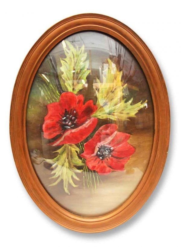 Vintage Oval Frame with Curved Glass & Poppy Flower - Paintings