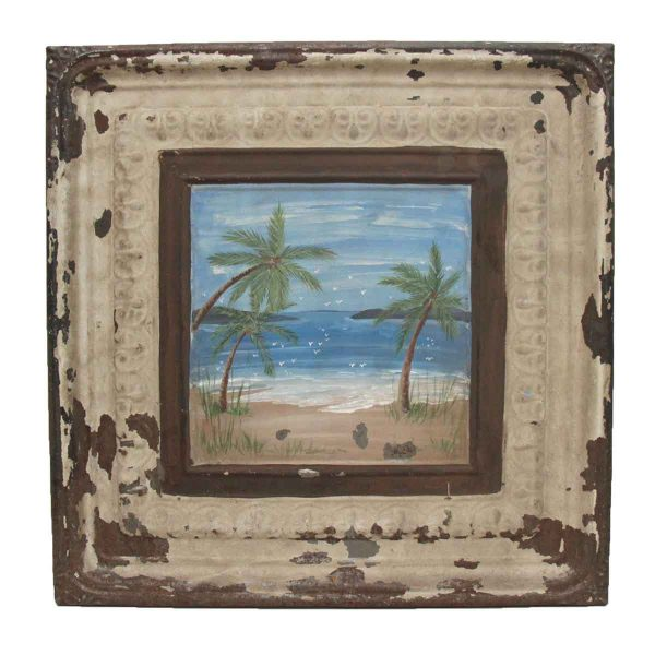 Vintage Tin Panel with Hand Painted Beach Scene - Hand Painted Panels