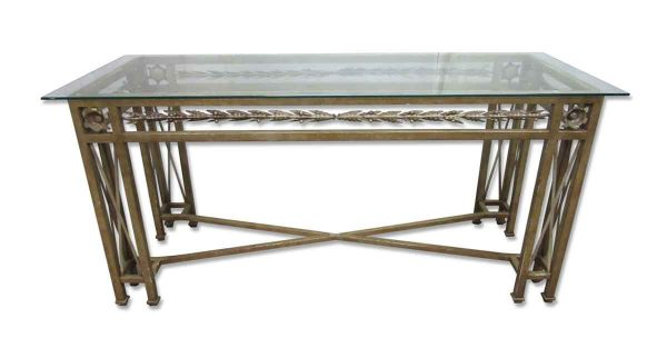 Wrought Iron Console Table with Glass Top - Entry Way