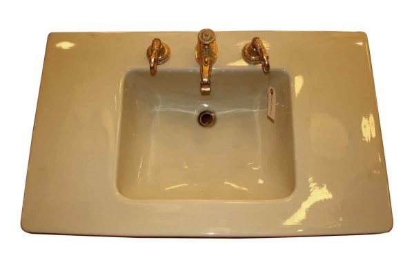 Console Sink Yellow with Sherle Wagner Fittings - Bathroom