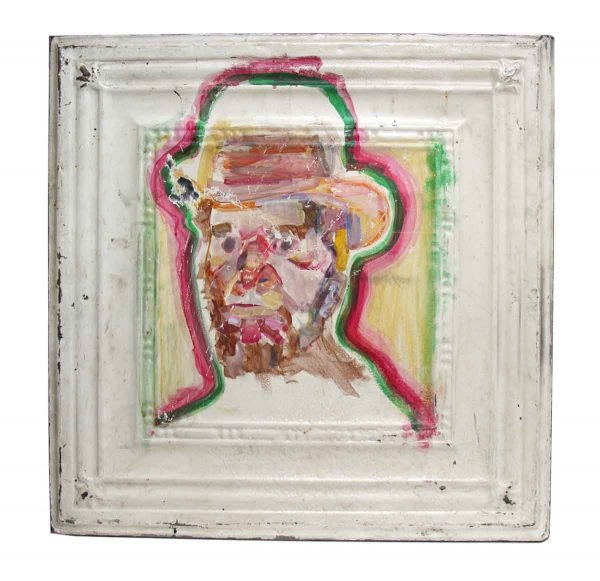 Colorful Hand Painted Tin Panel Portrait - Hand Painted Panels