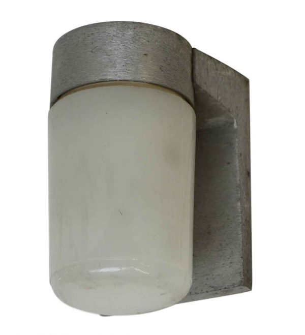Brushed Aluminum Industrial Single Arm Sconce with White Glass - Sconces & Wall Lighting