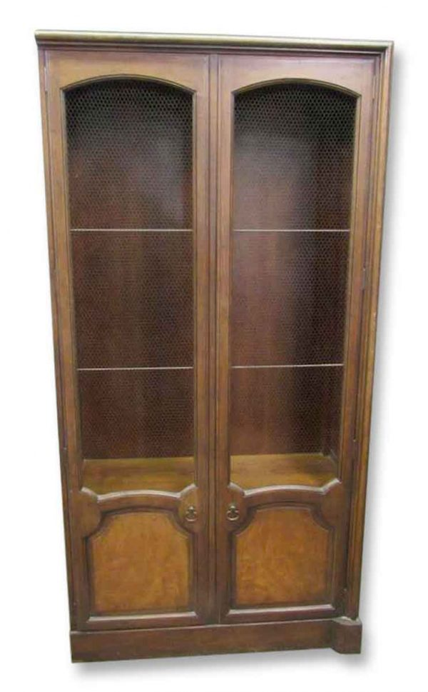 Mid Century Bookcases or Cabinet with Wire Netted Doors - Bookcases