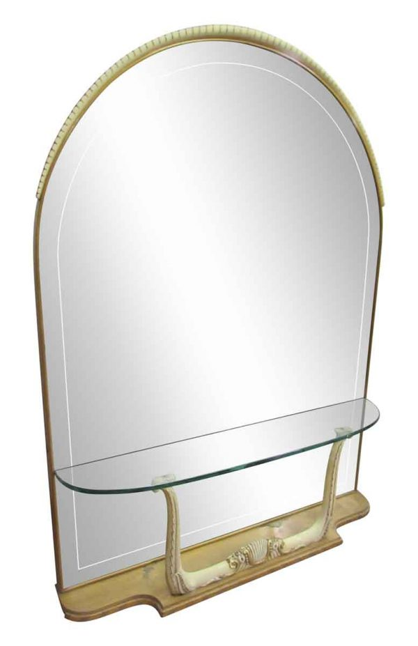 Arched Mirror with Built in Glass Shelf & Horn Motif - Entry Way