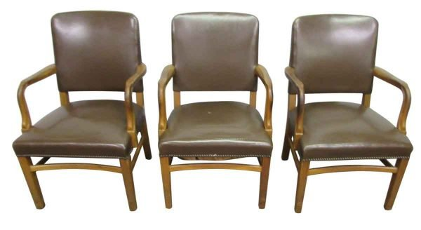 Brown Leather Arm Chair - Office Furniture