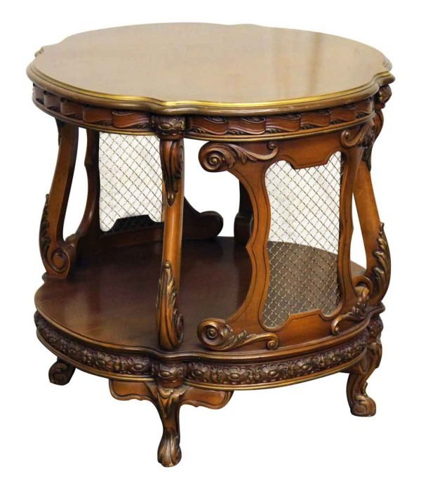 French Carved Side Table with Metal Grids - Living Room