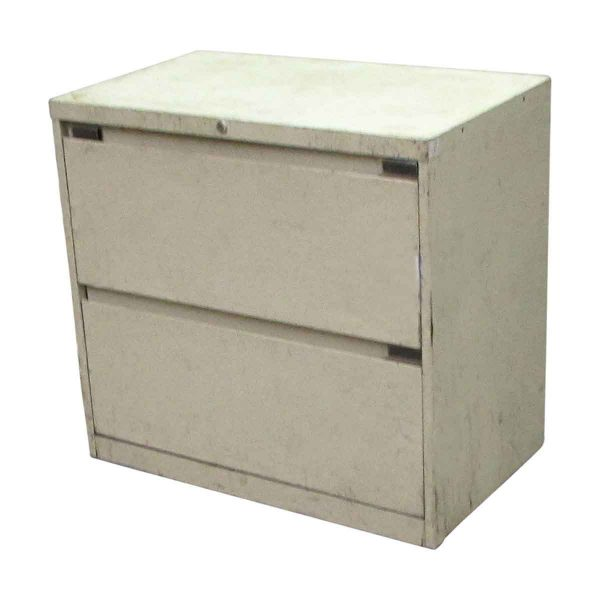 Cream Worn Metal Lateral File Cabinet - Office Furniture