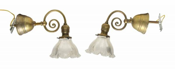 Brass Sconces with Scalloped Holophane Glass Shades - Sconces & Wall Lighting