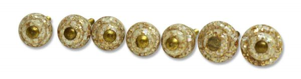 Set of Seven Pink Mother of Pearl in Lucite Pulls - Cabinet & Furniture Knobs