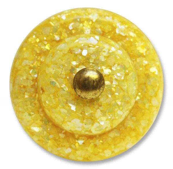 Single Yellow Mother of Pearl in Lucite Knob - Cabinet & Furniture Knobs