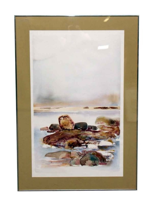 Scenic Watercolor Painting in Metal Frame - Paintings