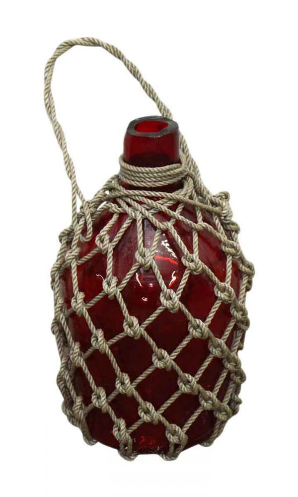 Red Glass Roped Bottles - Nautical Antiques