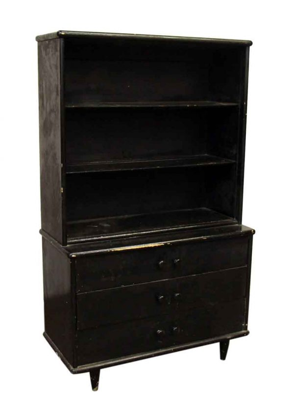 Ebony Colored Book Shelf with Drawers - Bookcases