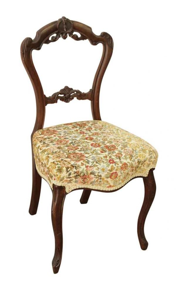 Single Floral Cushion Carved Chair - Living Room
