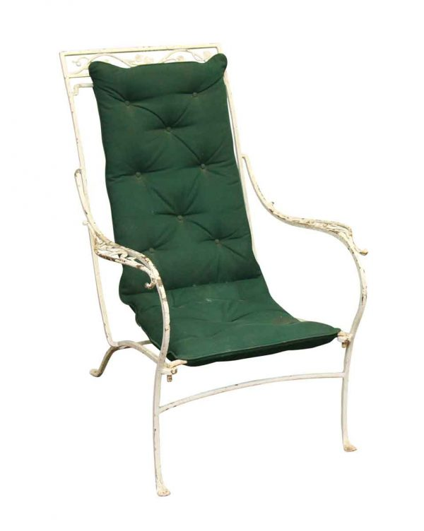 Single Iron White Garden Chair with Green Cushion - Patio Furniture