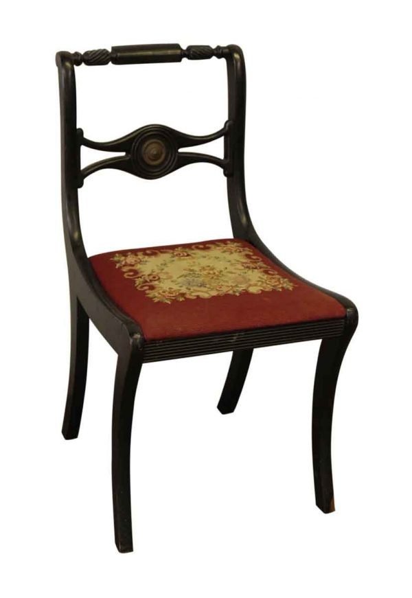 Wooden Black Chair with Floral Seat - Seating
