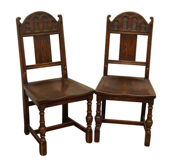 Pair of Gothic Wooden Chairs - Living Room