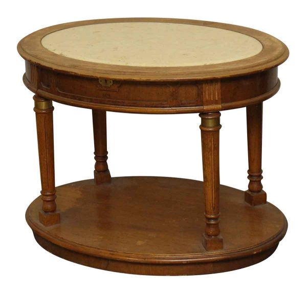 Oval Side Table with Marble Top - Living Room