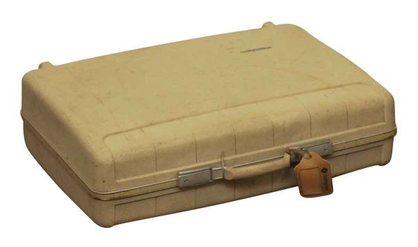 Vintage Plastic Briefcase with Leather Tag - Suitcases